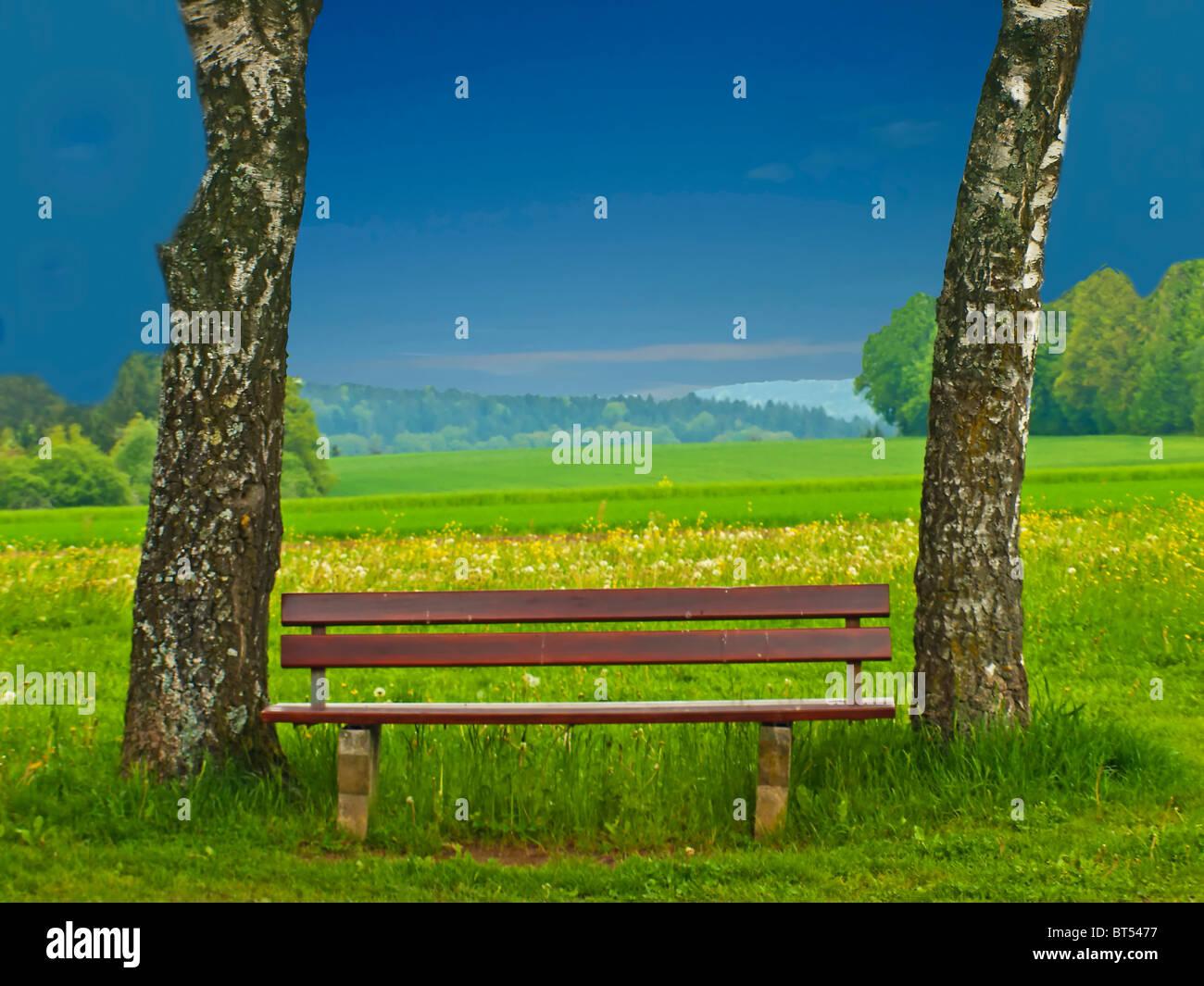 park bench idyll - Stock Image