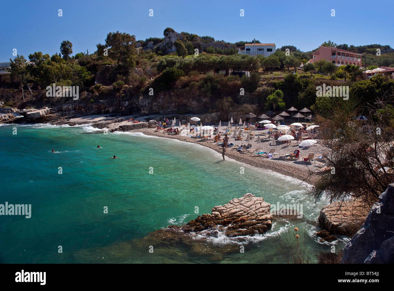 Kassiopi Beach, Corfu, Ionian Islands Greece. - Stock Image