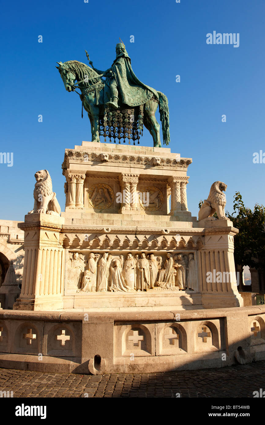 Statue of King Istvan ( Stephan ) - Fisherman's Bastion - Castle District, Budapest, Hungary Stock Photo