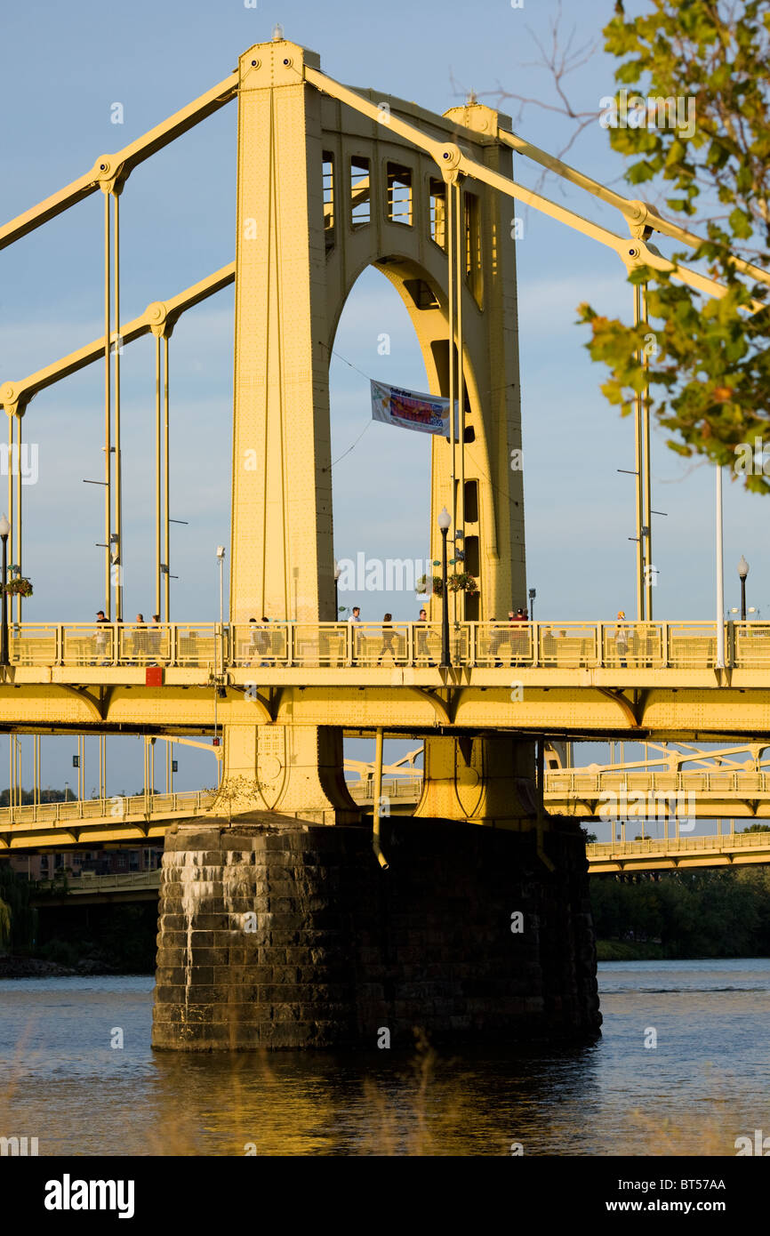 Roberto Clemente Bridge, one of The Three Sisters yellow bridges, closed to cars during baseball games, Pittsburgh, - Stock Image