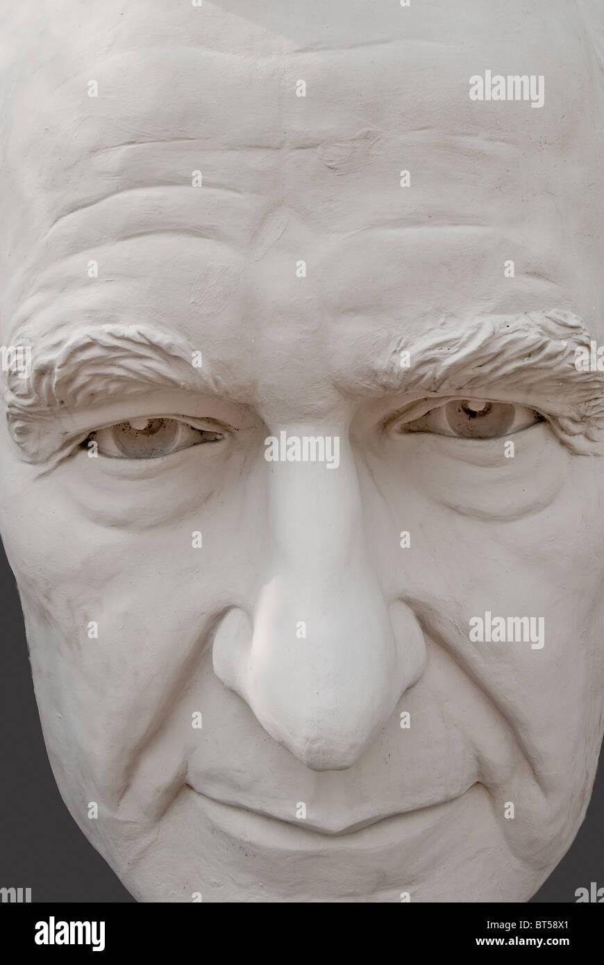 White concrete sculpture of George H. W. Bush (41st US President) at David Adickes Sculpturworx Studio in Houston, Texas, USA Stock Photo