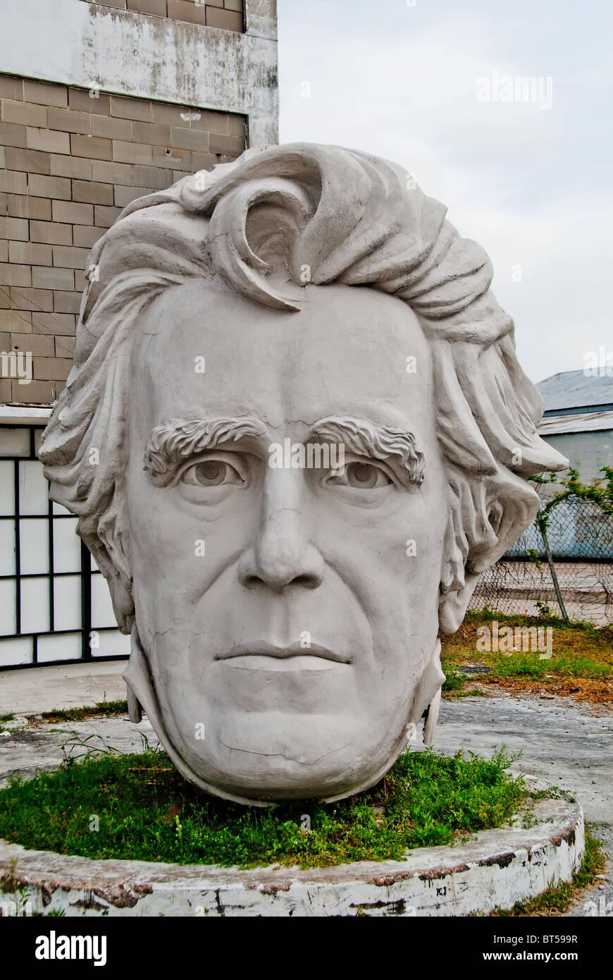 White concrete sculpture of Andrew Jackson (7th US President) at David Adickes Sculpturworx Studio in Houston, Texas, USA Stock Photo