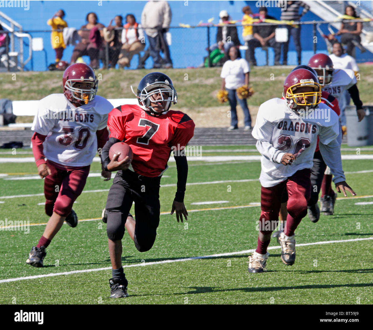 American football inner city league game in Roanoke, Virginia. - Stock Image