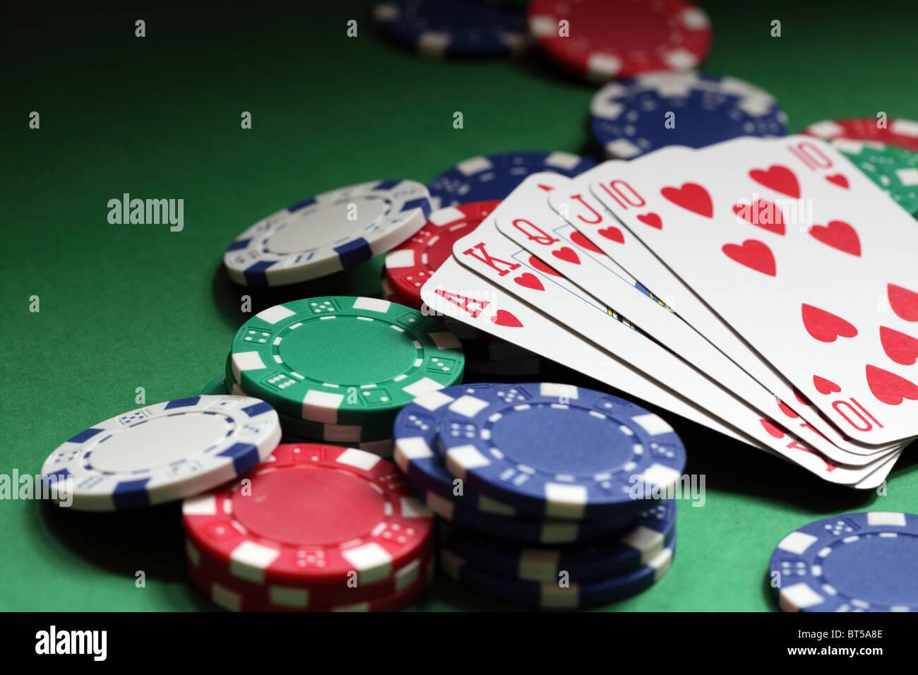 Royal flush poker hand - Stock Image