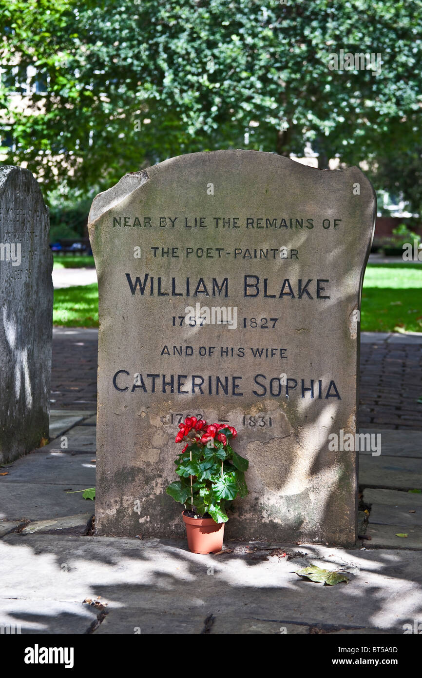 London, Bunhill Fields Grave of William Blake August 2010 - Stock Image