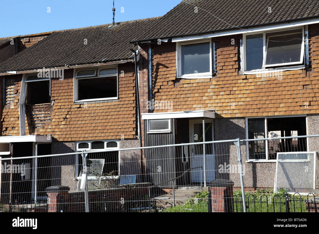 Council houses being demolished in the St Ann's area of Nottingham, England, U.K. - Stock Image