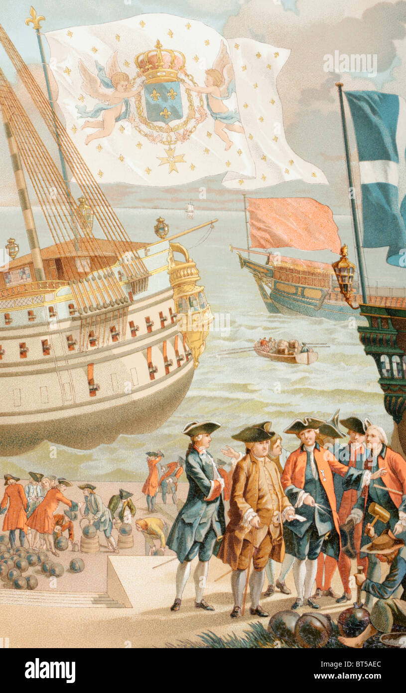 The Royal flag of France flying over a French Navy ship of the 18th century. - Stock Image