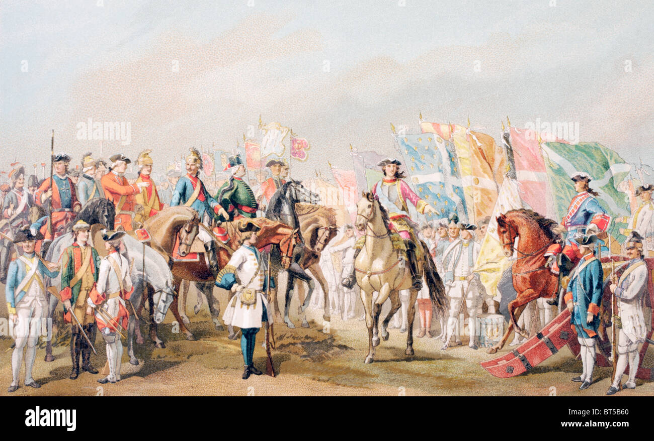 Uniforms of the French army in the late 18th century. - Stock Image