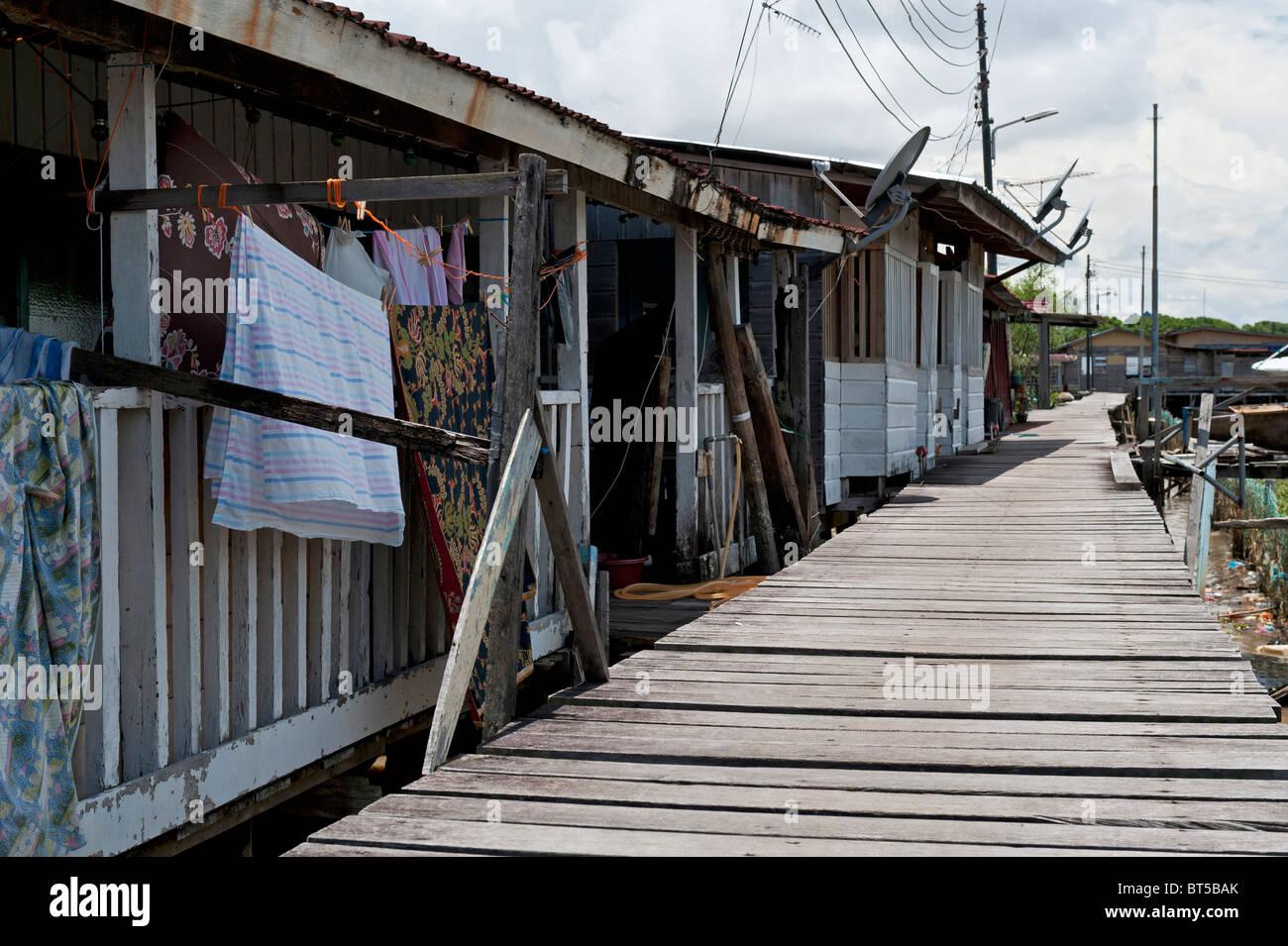 Typical Wooden Stilt Houses in Kampong Ayer Water Village in Bandar Seri Begawan, Brunei - Stock Image