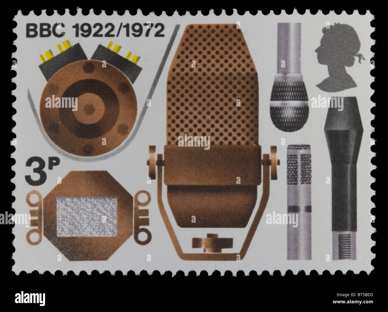 UNITED KINGDOM - CIRCA 1972: A stamp printed in Great Britain shows the different microphones, a series devoted - Stock Image