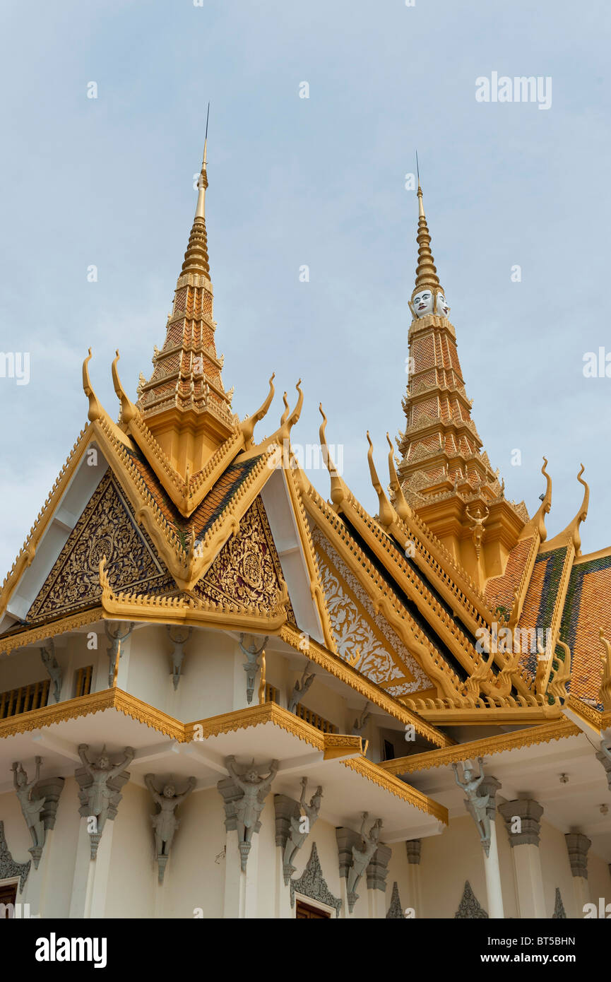 Roof of The Throne Hall or Preah Thineang Dheva Vinnichayyeaah in The Royal Palace, Phnom Penh, Cambodia Stock Photo