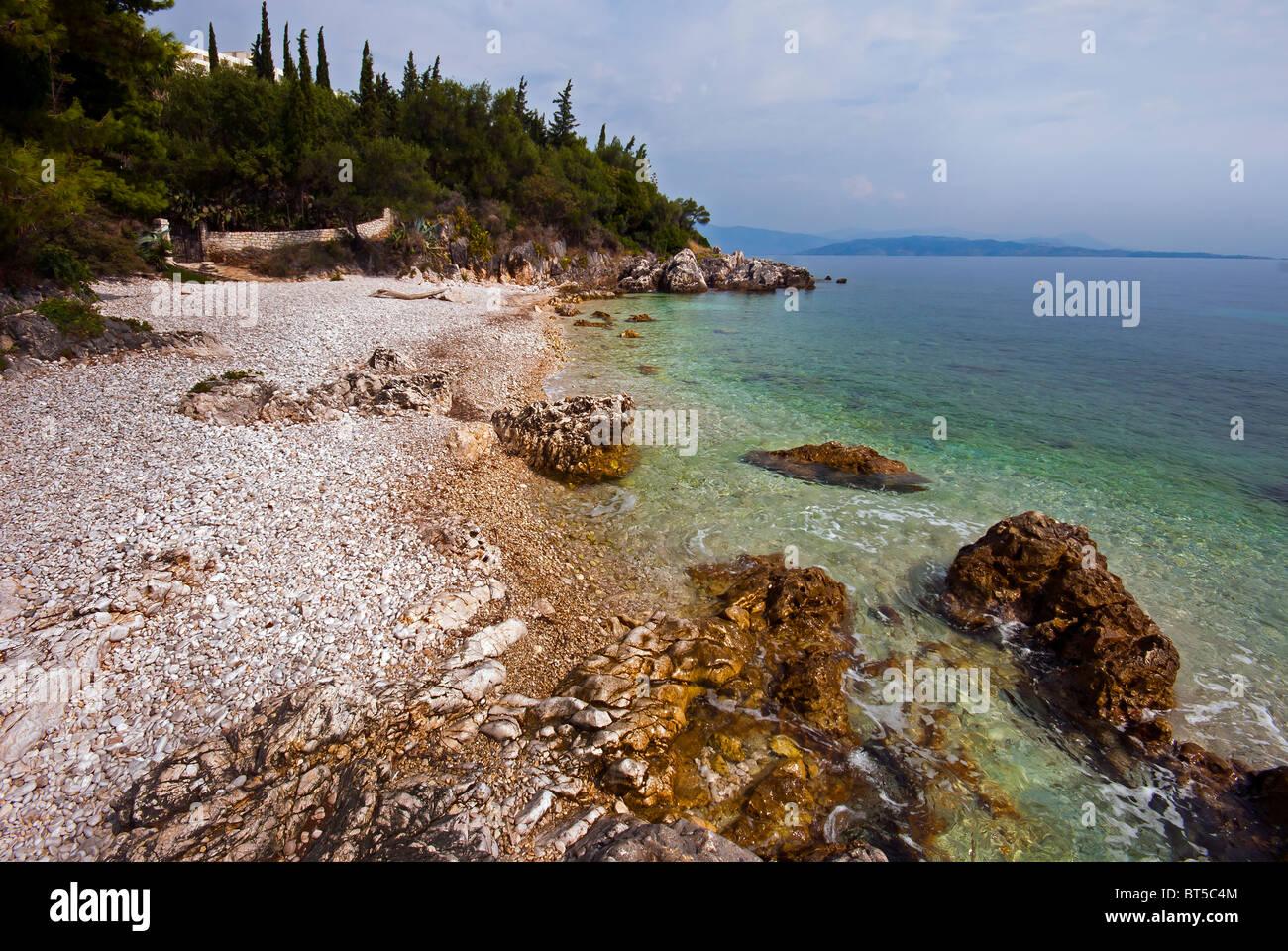 Small beach at Apolysi, Corfu, Ionian Islands Greece. - Stock Image