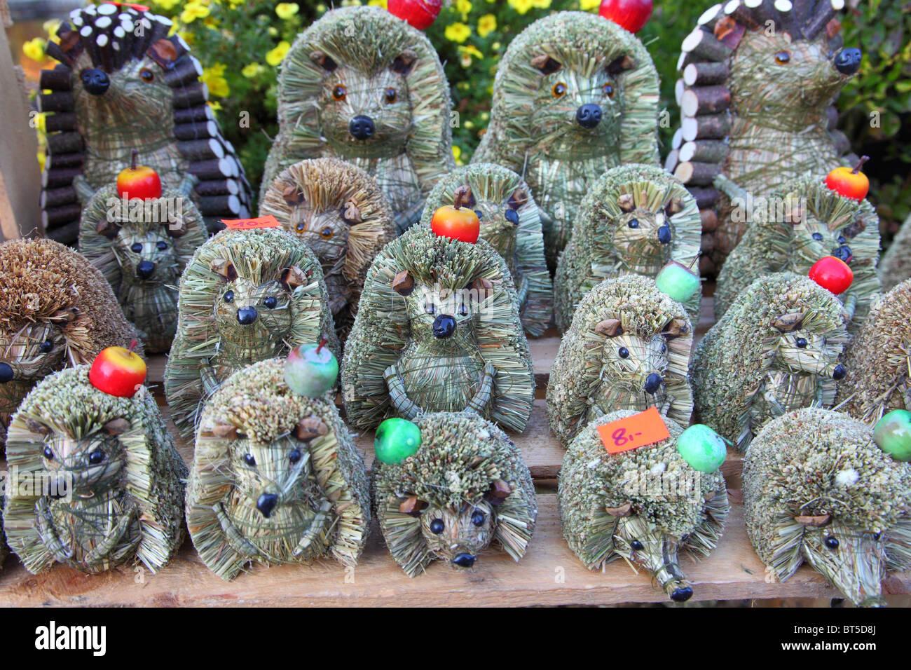 Hedgehogs hedgehog made of hay handicraft handiwork of Poland - Stock Image