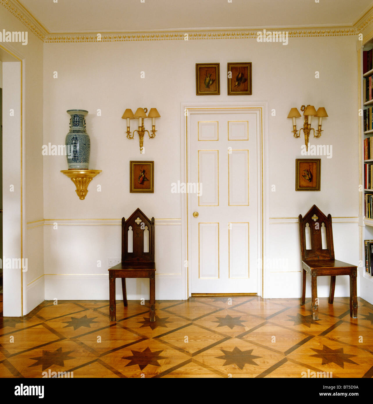 Antique Wooden Gothic Style Chair In Traditional Hall With Dado Rail And  Stenciled And Polished