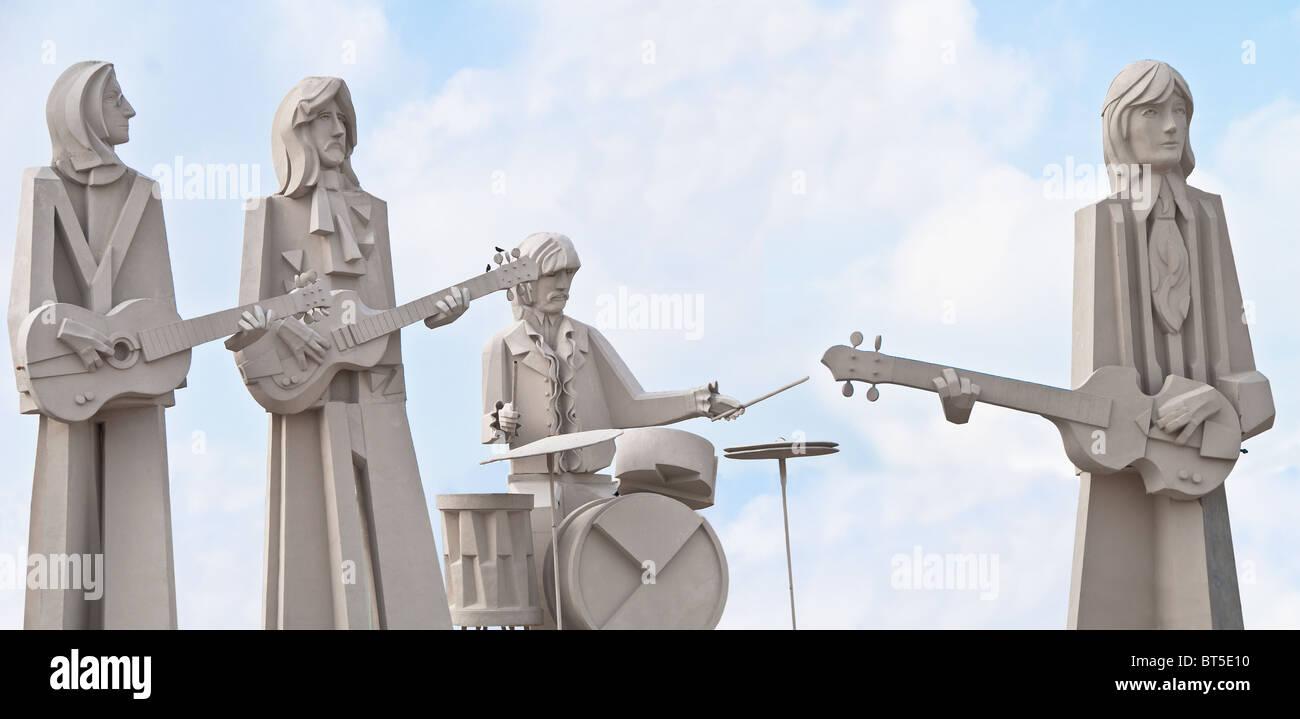 White concrete sculptures of The Beatles, at David Adickes Sculpturworx Studio in Houston, Texas, USA Stock Photo