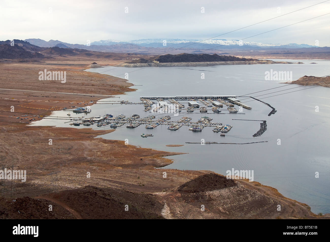 A view of Lake Mead, from above.  Lake Mead is the largest reservoir in the United States Stock Photo