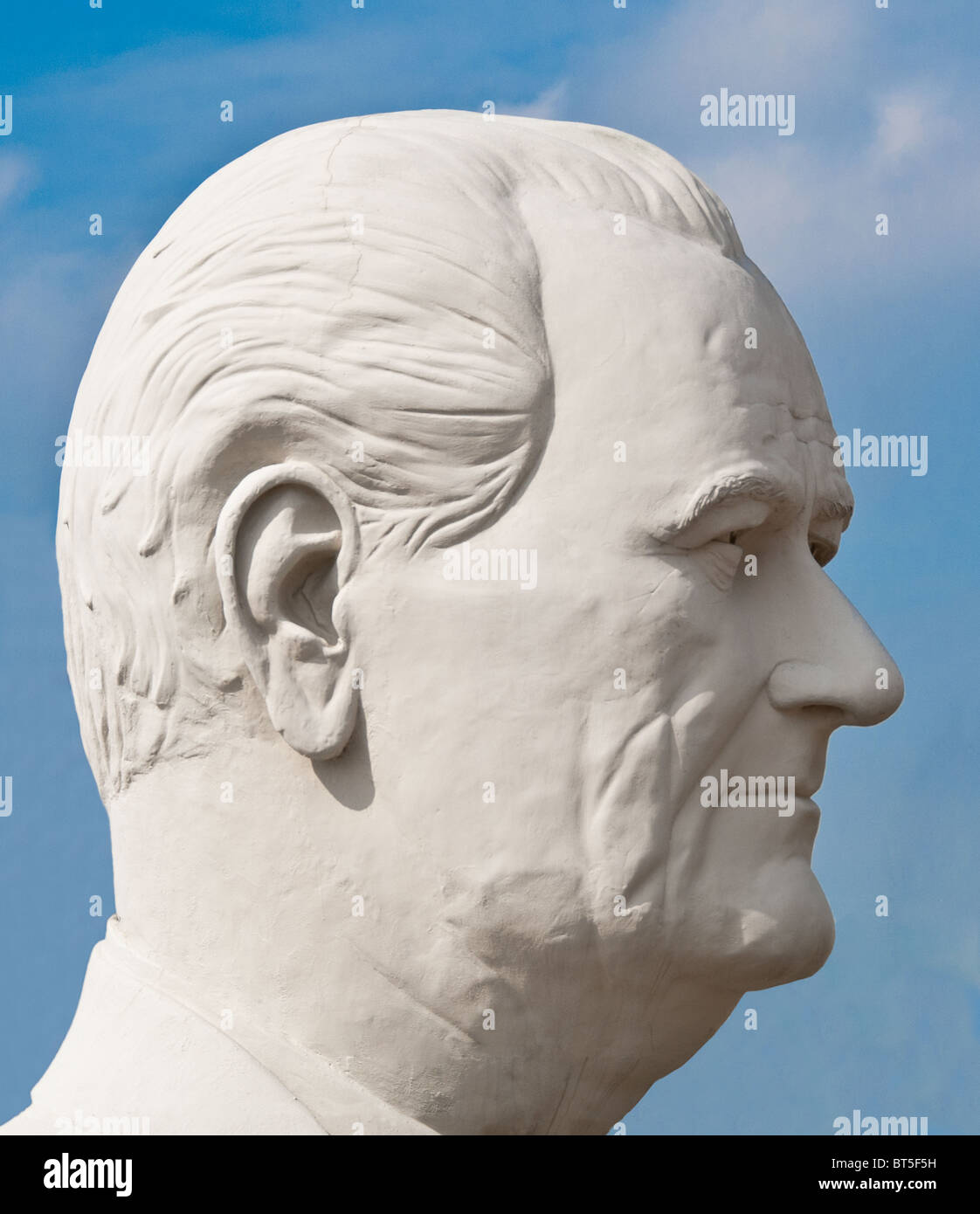 White concrete sculpture of Lyndon B. Johnson (36th US President ) at David Adickes Sculpturworx Studio in Houston, Stock Photo