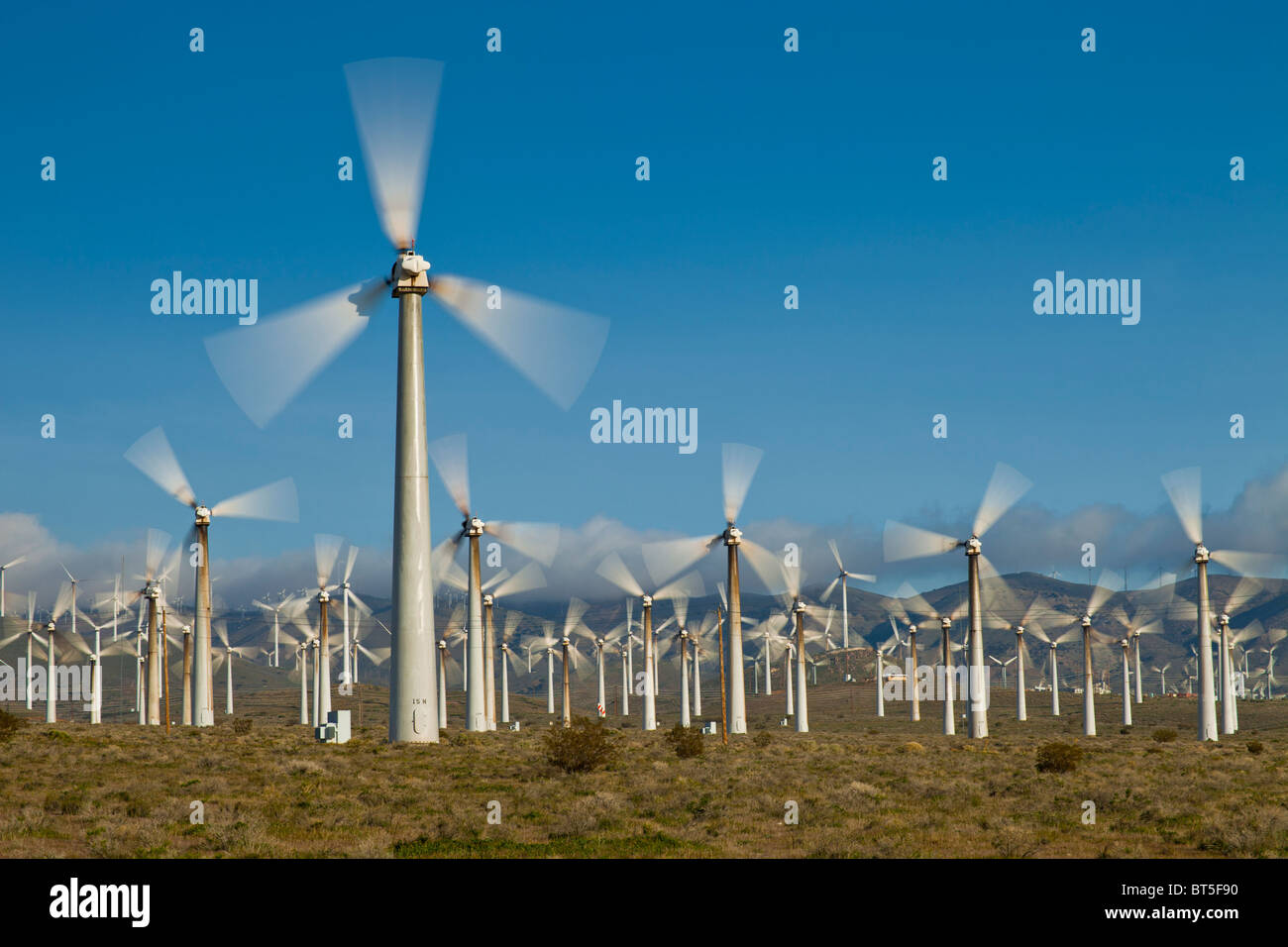 An AES Corporation wind farm in the Mohave Desert, California. - Stock Image