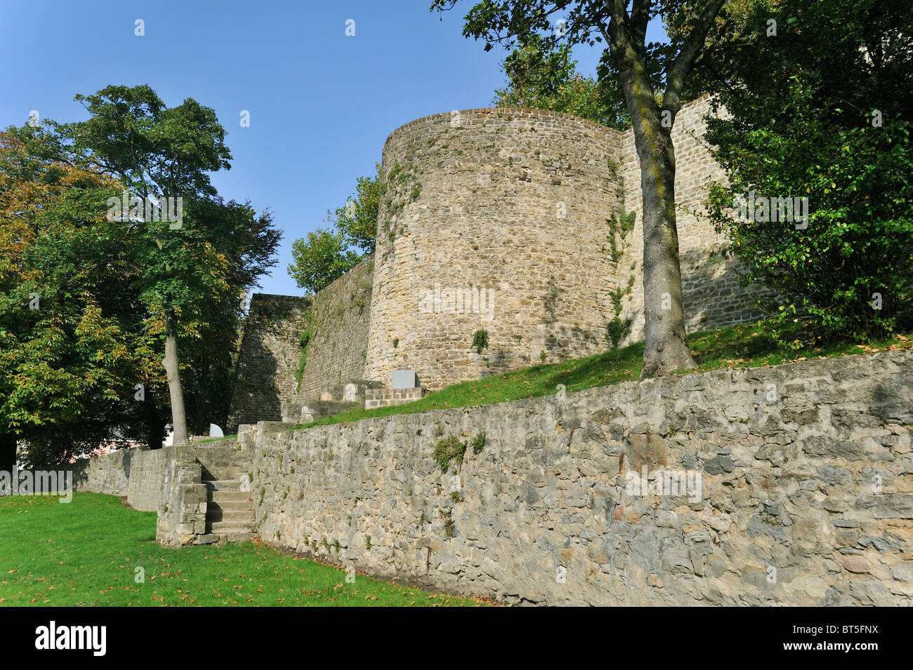 Rampart at Boulogne-sur-Mer, France - Stock Image