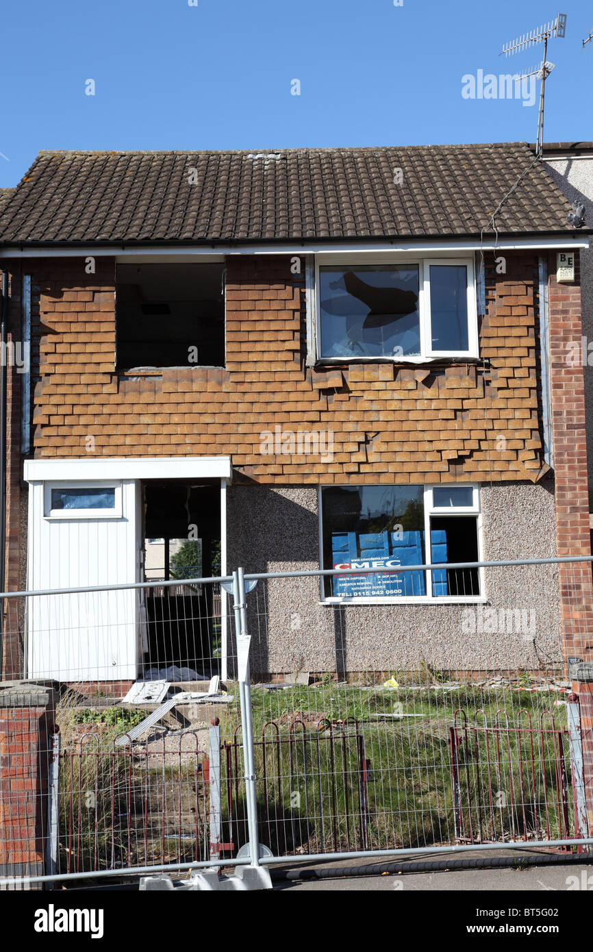A council house being demolished in the St Ann's area of Nottingham, England, U.K. - Stock Image