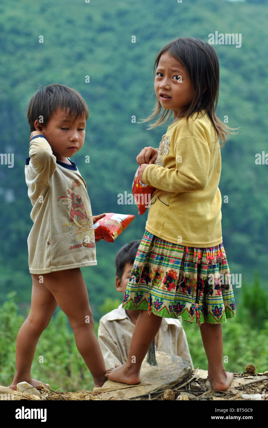 Tribal Flower Hmong brother and sister near Sapa, Vietnam - Stock Image