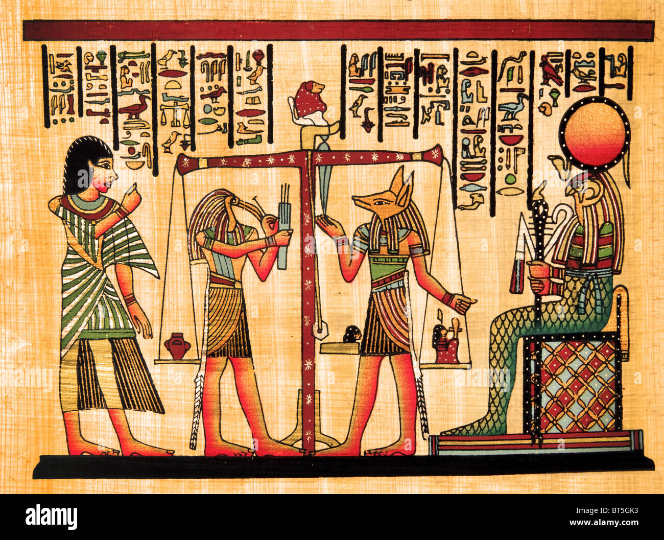 antique egyptian papyrus and hieroglyph - Stock Image
