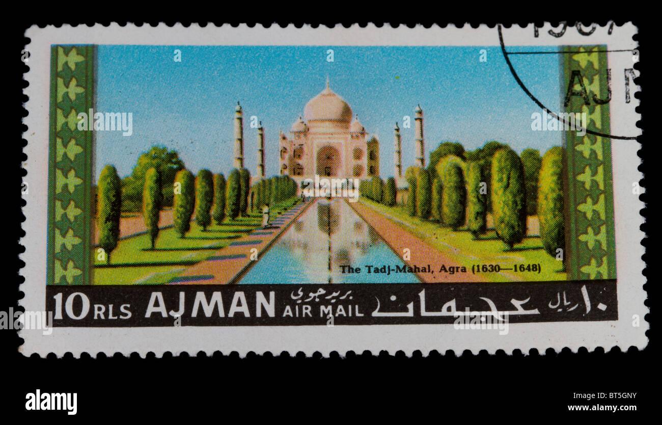 Ajman postage stamp of taj mahal - Stock Image