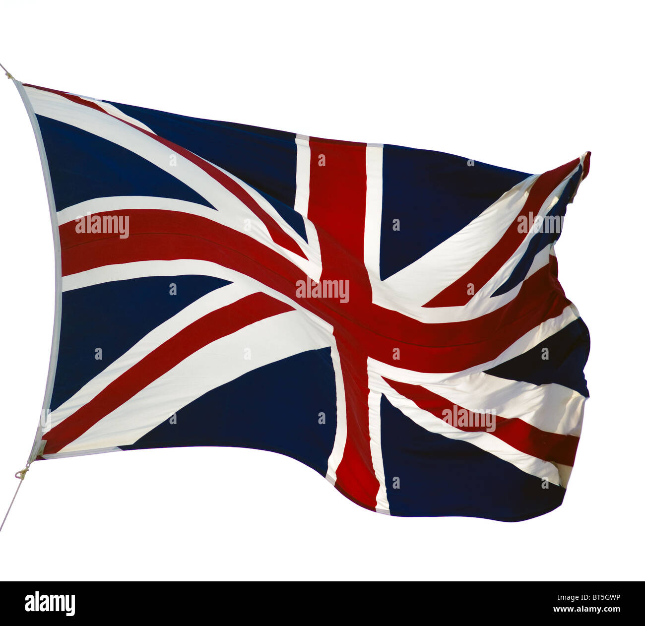 fluttering flag of United Kingdom isolated on white - Stock Image