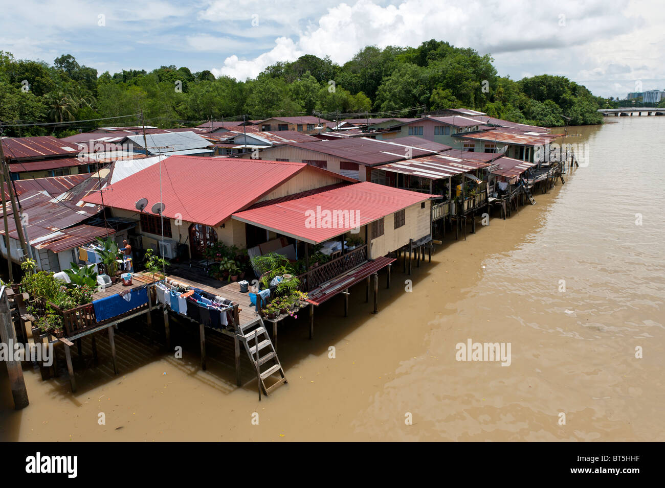 Kampong Ayer Water Village in Bandar Seri Begawan, Brunei - Stock Image