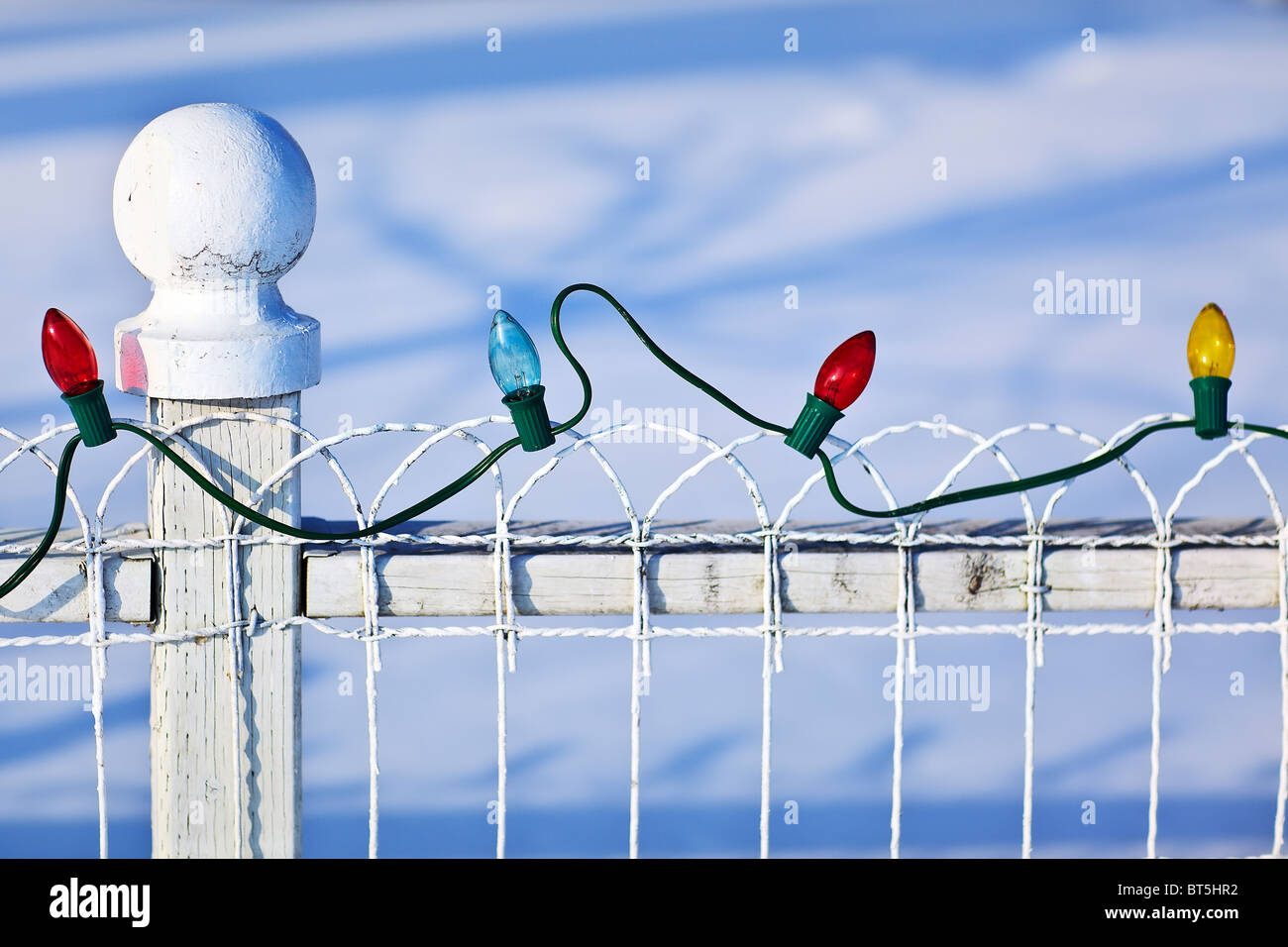 String of colored Christmas lights on a white fence, Gimli, Manitoba, Canada. - Stock Image