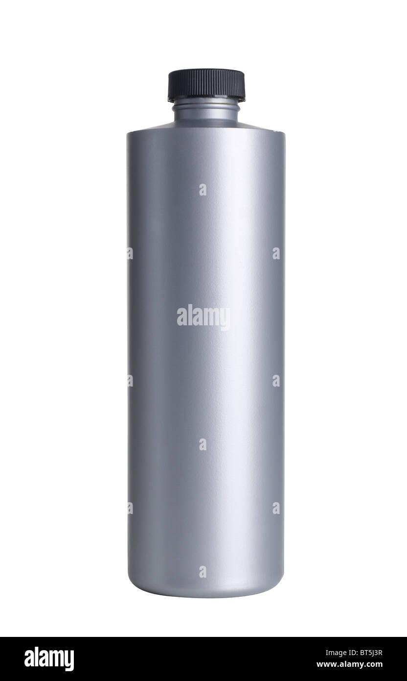 Grey plastic bottle - Stock Image