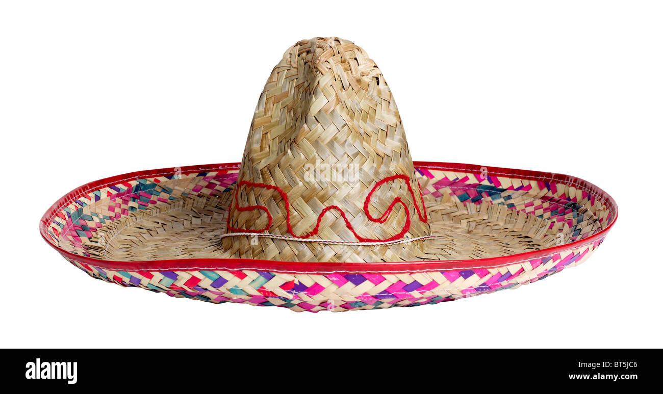 Sombrero Mexico Mexican straw hat head cover shade sun protection celebration celebrate accessory - Stock Image