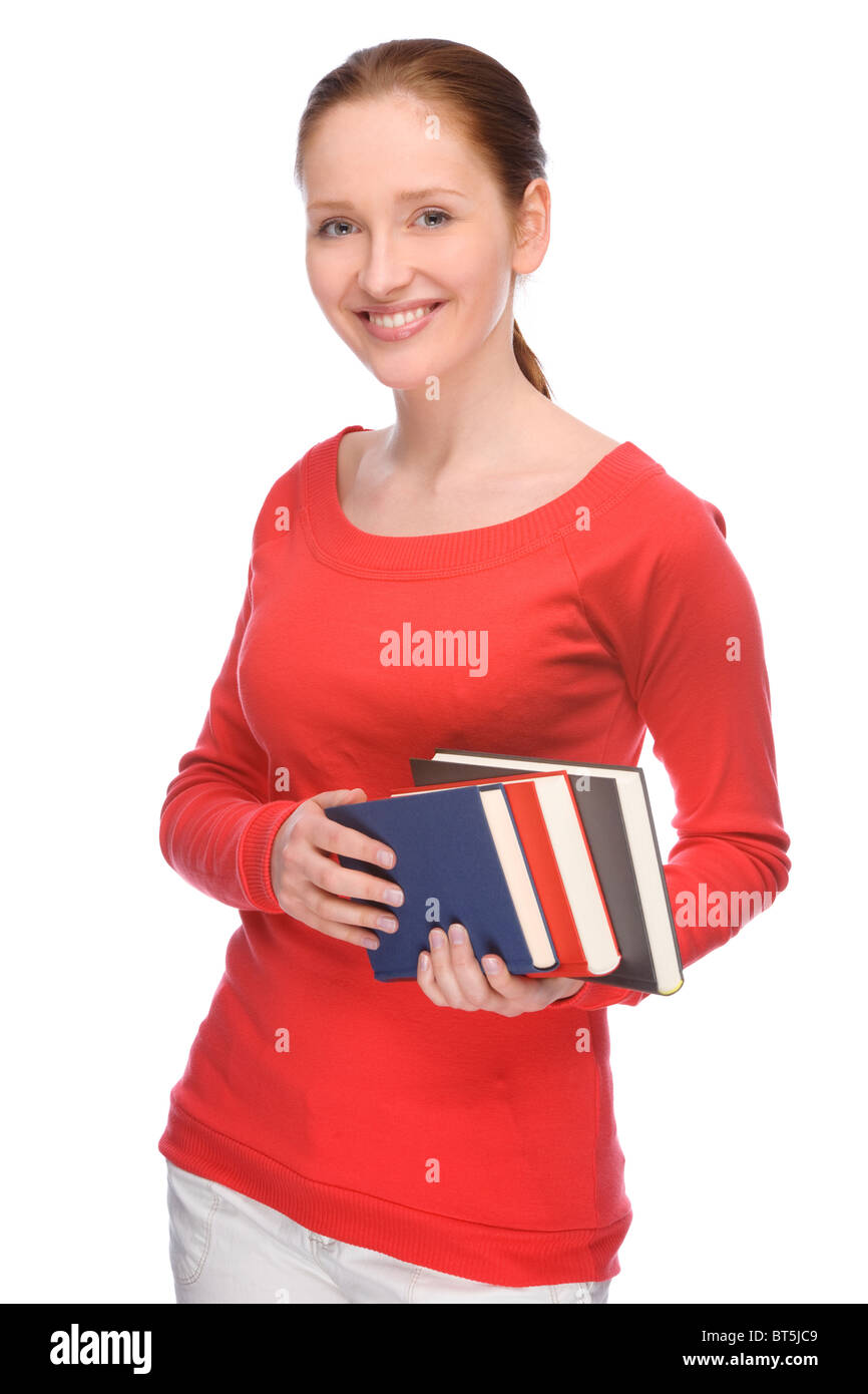 Full isolated portrait of a beautiful and happy young student - Stock Image