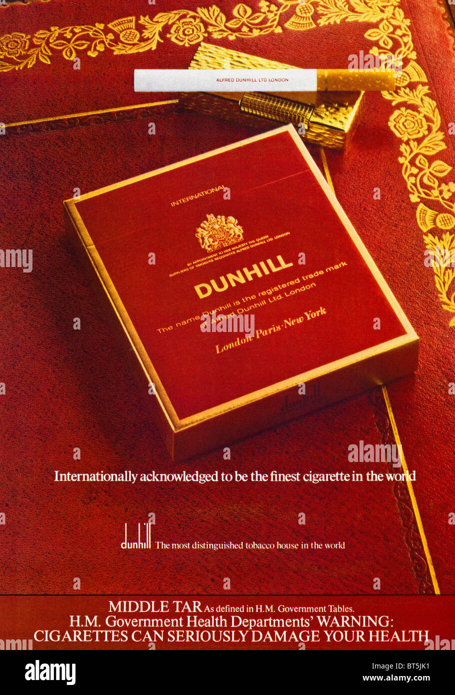 Advert for Dunhill cigarettes in 1st issue of NOW magazine dated September 1979 - Stock Image