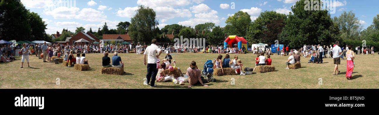 Typical English Summer Fete (Panorama) - Stock Image