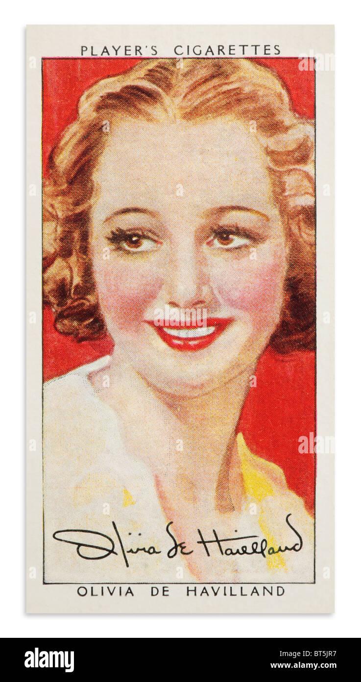 Olivia de Havilland Player's Cigarette Card Portrait - Stock Image