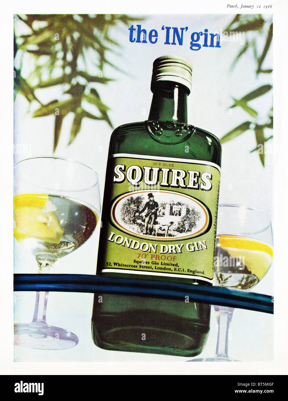 Advert for Squires Dry Gin in Punch magazine dated 12th January 1966 - Stock Image