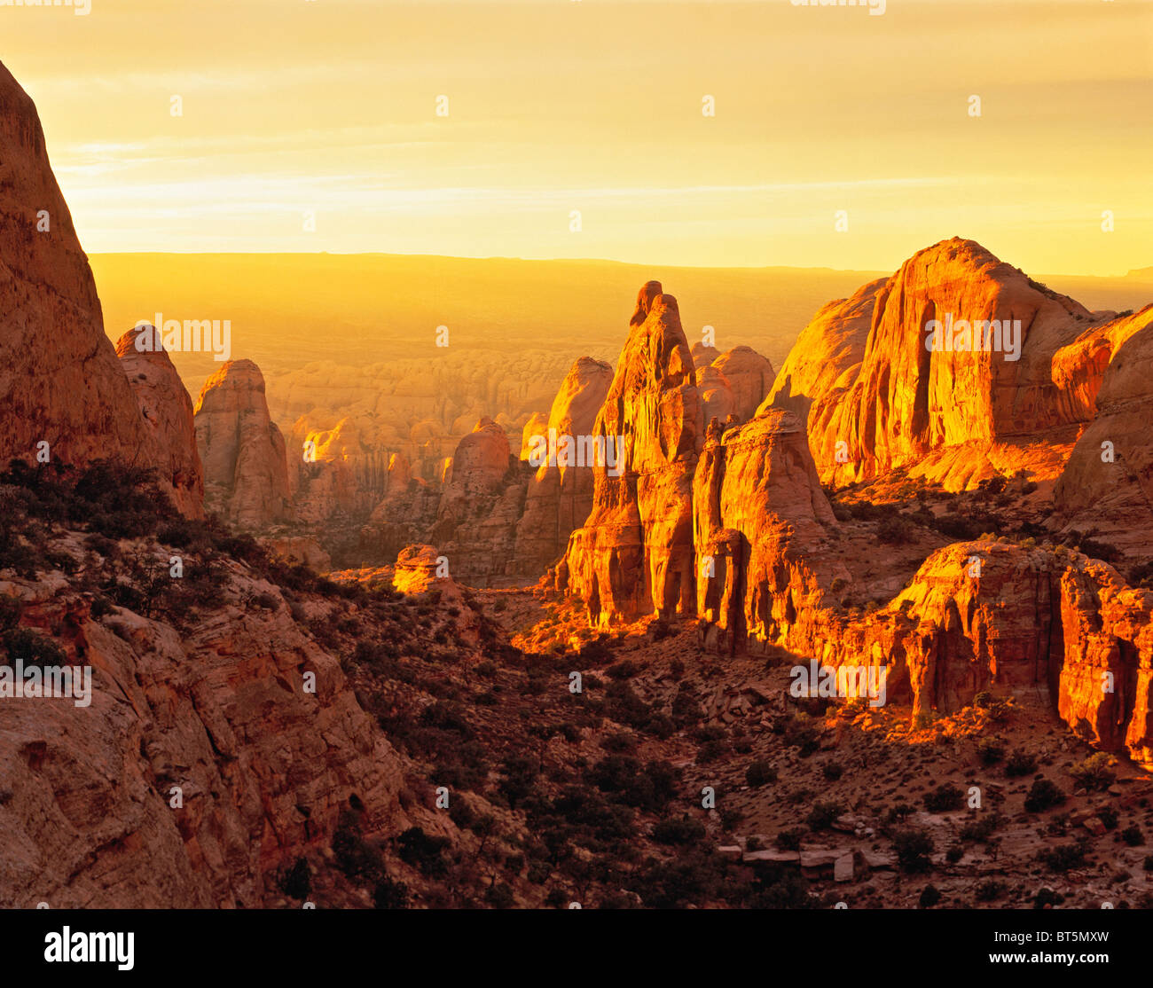 Sunset in Behind the Rocks, Wilderness Study Area, Utah - Stock Image