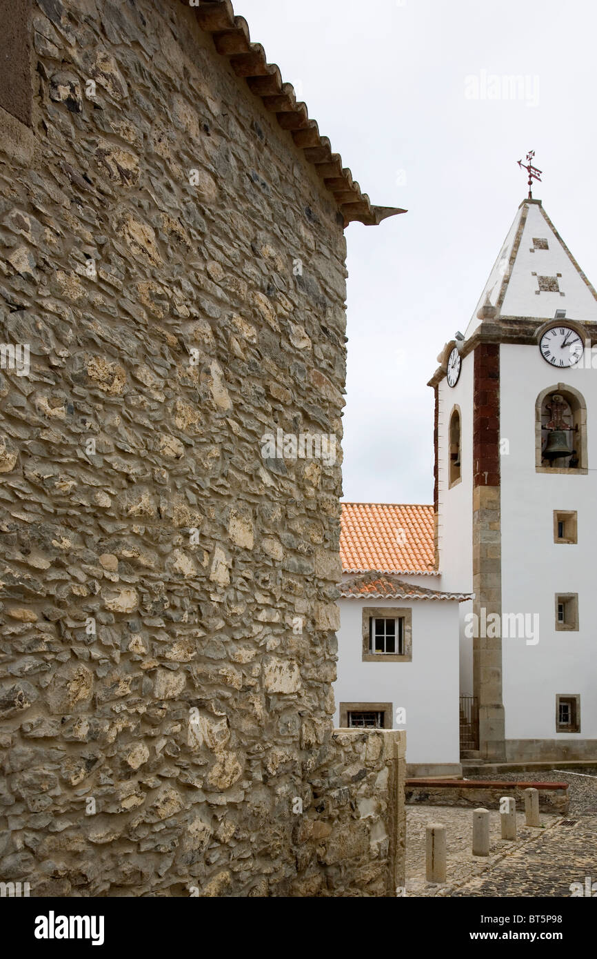 Casa do Colombo with church in background in Porto Santo - Stock Image