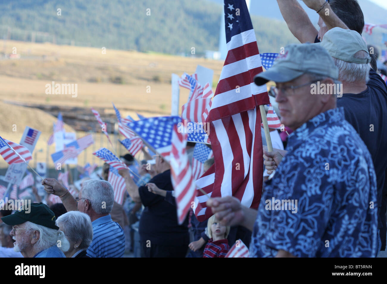 People holding signs and flags, TEA Party rally at Stateline, Idaho, September, 17, 2009. Stock Photo