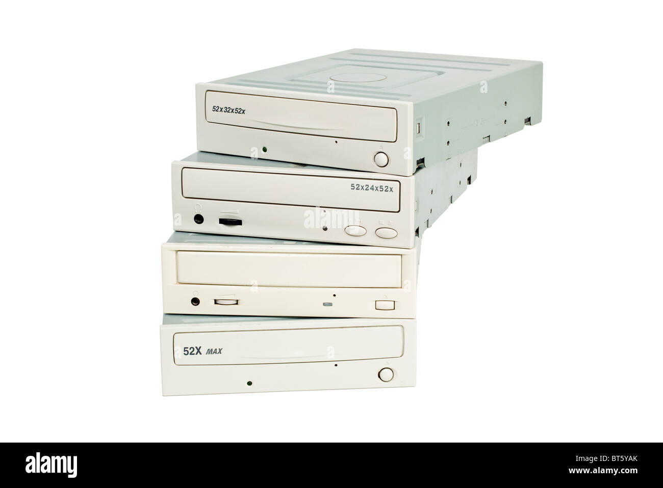CD-rom stack isolated on white background - Stock Image