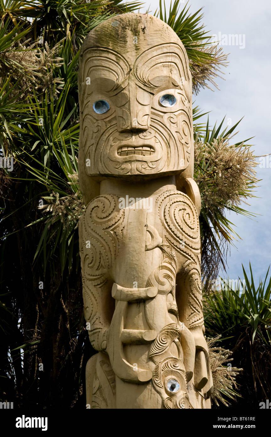 Maori totem pole carving wood timber poupou carved wooden post