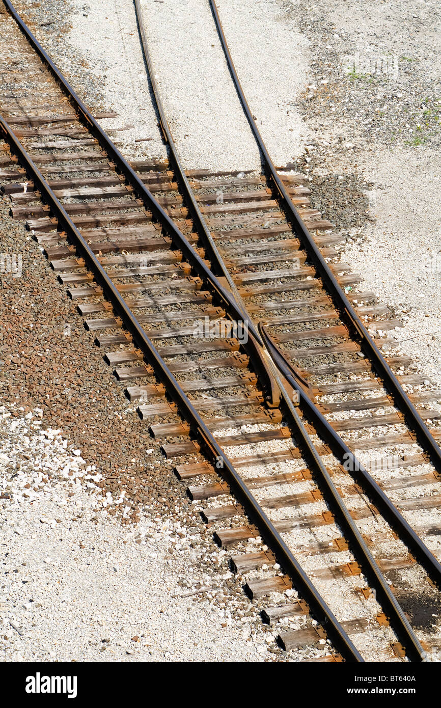 Railroad turnout switching tracks in a rail yard in West Virginia, USA on a sunny summer day. - Stock Image