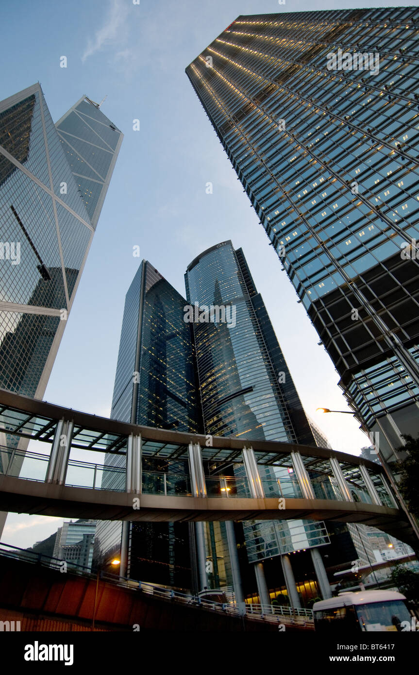 skyscraper  skyline cityscape harbour center central district building glass steel  Hong Kong, China asia special - Stock Image