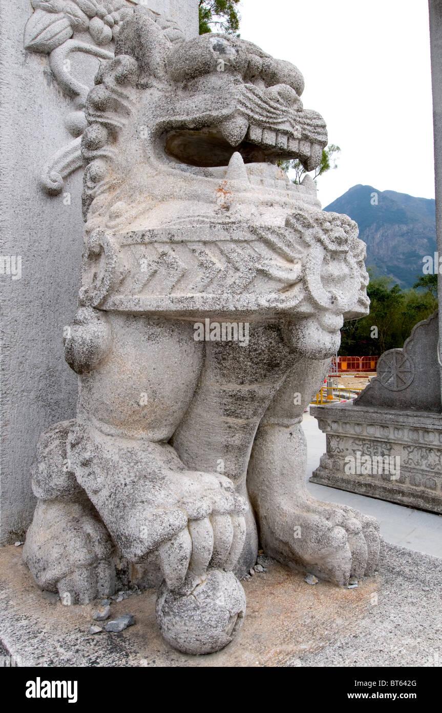 Tian Tan. Hong Kong, China asia Po Lin Monastery Buddhist monastery Ngong Ping Plateau Lantau Island The Big Hut - Stock Image