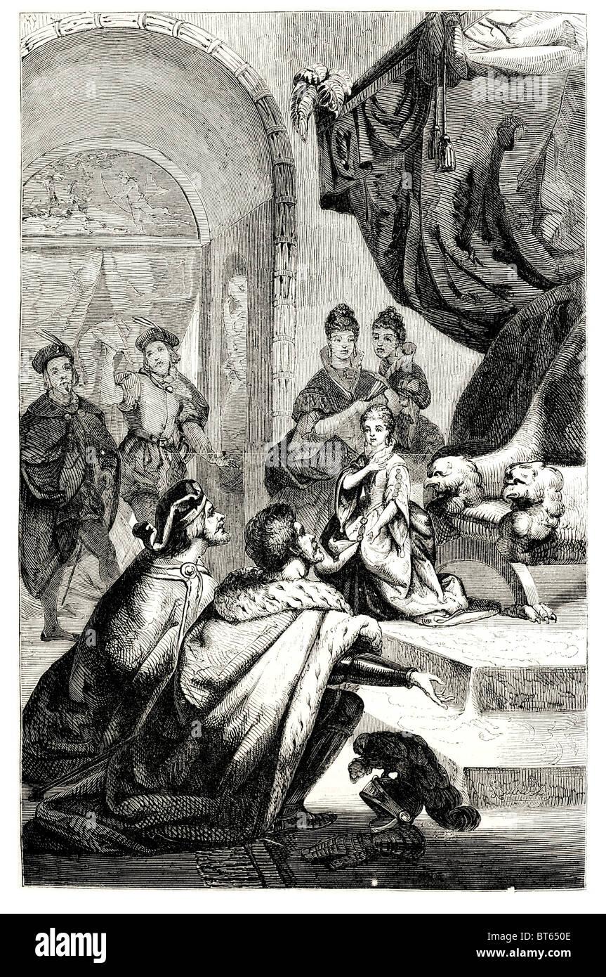 betrothal of french princess to king richard II 2nd 6 January 1367 – c. 14 February 1400 eighth King of England - Stock Image