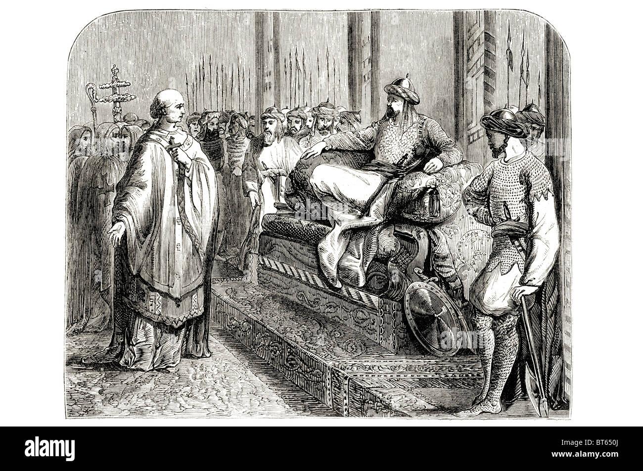 bishop of salisbury before Ṣalāḥ ad-Dīn Yūsuf ibn Ayyūbi  Ṣalāḥ al-Dīn Yūsuf ibn Ayyūb Selah'edînê - Stock Image