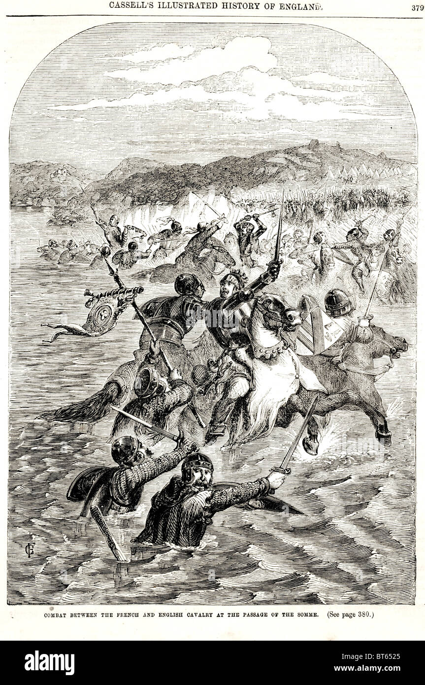 combat between french and english cavalry passage of somme river Philip VI 1293 – 22 August 1350 Fortunate le Fortuné - Stock Image