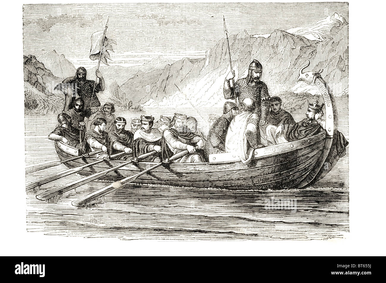 king edgar pacific rowed on the river dee by eight  tributary princes 8   Edgar the Peaceful Old English: Ēadgār. - Stock Image