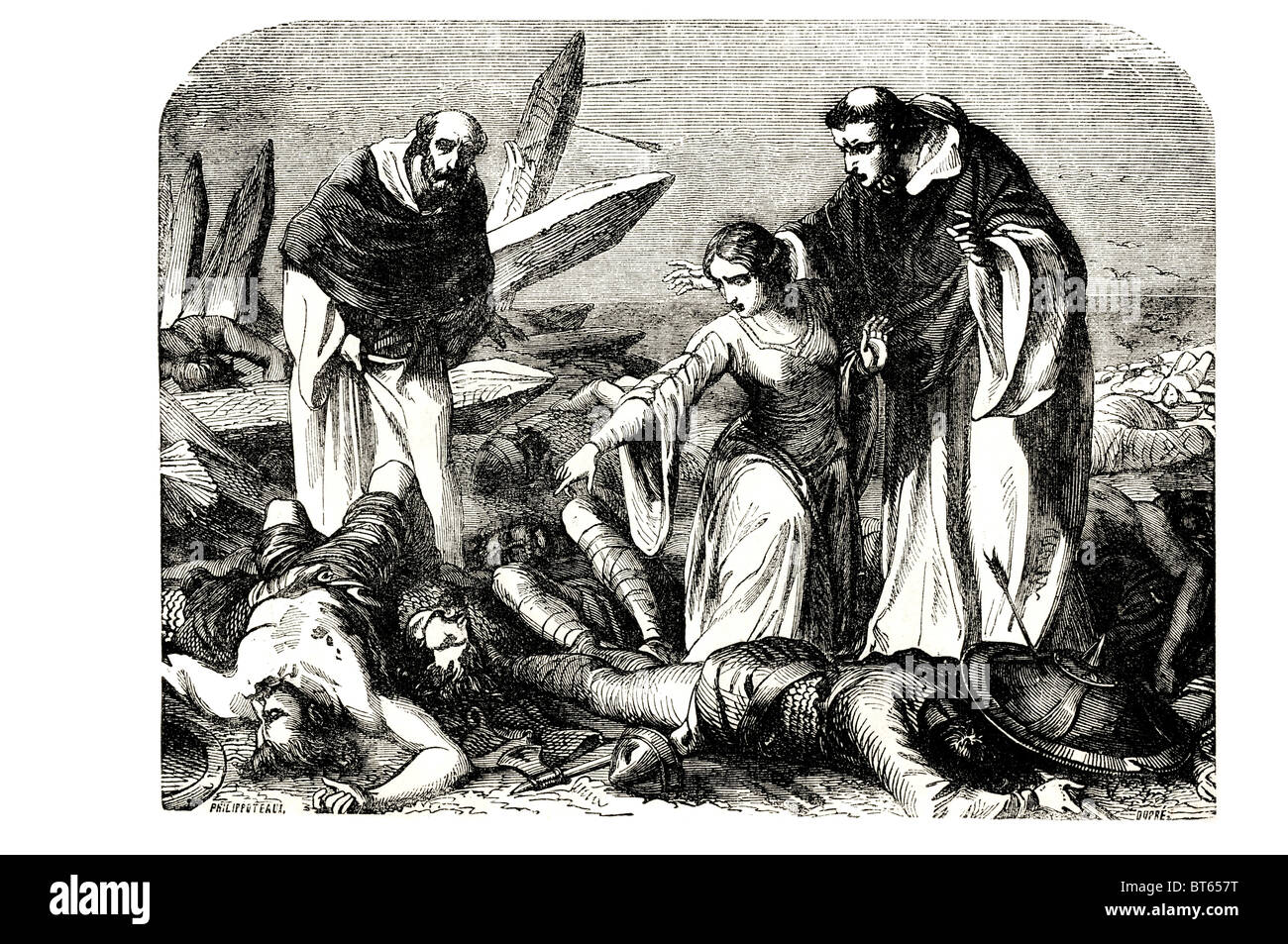 finding body of harold battle of agincourt English victory French army Hundred Years' War. The battle occurred - Stock Image